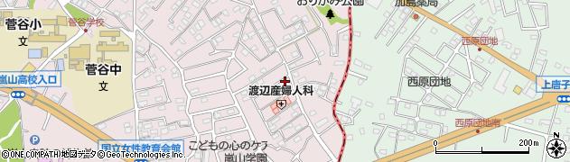 埼玉県比企郡嵐山町菅谷周辺の地図