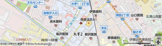 長野県諏訪市大手周辺の地図