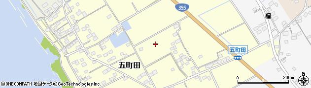 茨城県行方市五町田周辺の地図