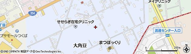 茨城県つくば市大角豆周辺の地図