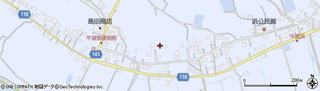茨城県かすみがうら市牛渡周辺の地図