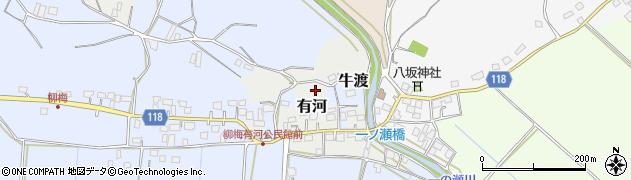 茨城県かすみがうら市有河周辺の地図