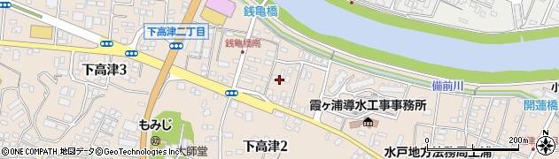 茨城県土浦市下高津周辺の地図
