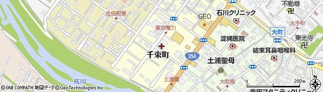 茨城県土浦市千束町周辺の地図