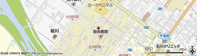 茨城県土浦市生田町周辺の地図