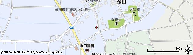 茨城県つくば市金田周辺の地図