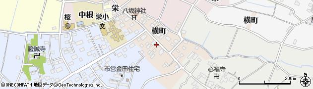 茨城県つくば市横町周辺の地図