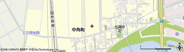 福井県福井市中角町周辺の地図