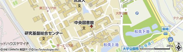 筑波大学 学生宿舎、福利厚生施設等本部棟食堂周辺の地図