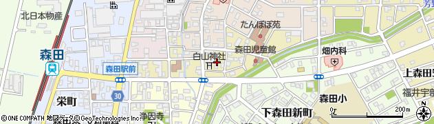 福井県福井市下森田藤巻町周辺の地図
