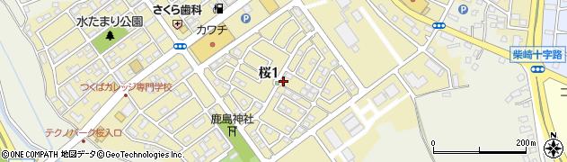 茨城県つくば市桜周辺の地図