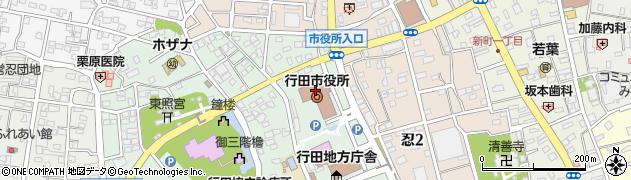 埼玉県行田市周辺の地図