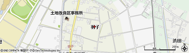 茨城県下妻市羽子周辺の地図