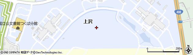 茨城県つくば市上沢周辺の地図