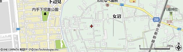 茨城県古河市女沼周辺の地図