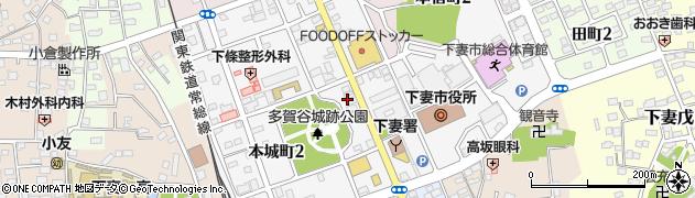 茨城県下妻市本城町周辺の地図