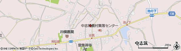 茨城県かすみがうら市中志筑周辺の地図
