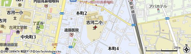 茨城県古河市本町周辺の地図
