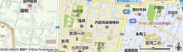 茨城県古河市中央町周辺の地図