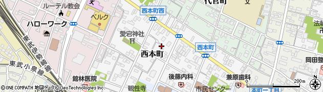 群馬県館林市西本町周辺の地図