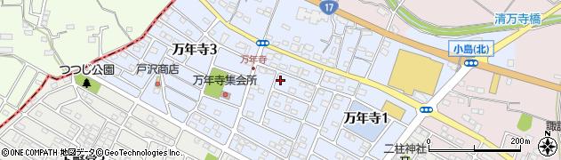 埼玉県本庄市万年寺周辺の地図