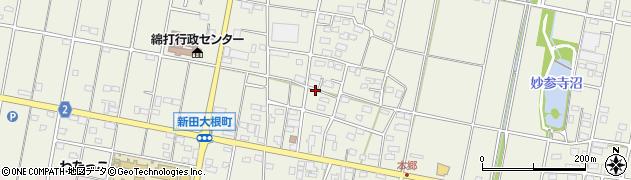 群馬県太田市新田大根町周辺の地図