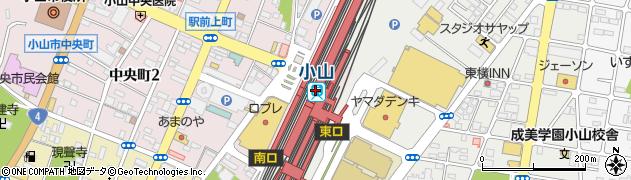 栃木県小山市周辺の地図