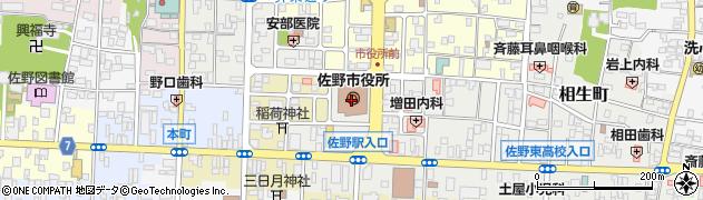 栃木県佐野市周辺の地図