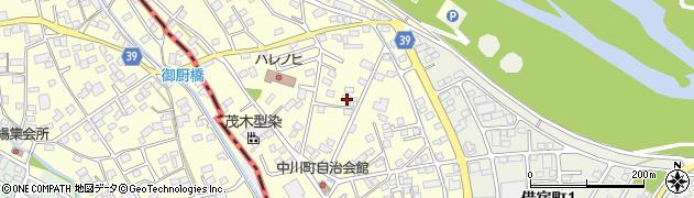 栃木県足利市中川町周辺の地図