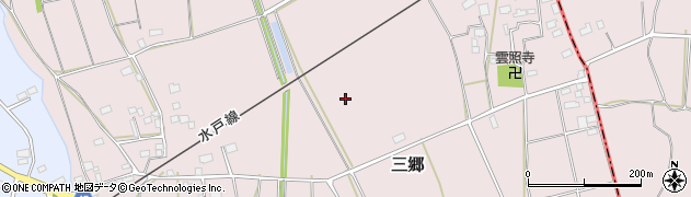 茨城県筑西市三郷周辺の地図