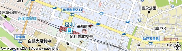 栃木県足利市伊勢町周辺の地図