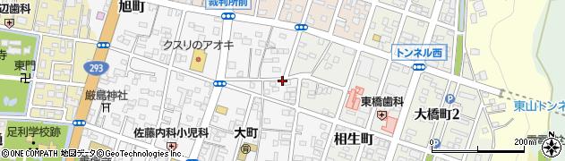 栃木県足利市大町周辺の地図