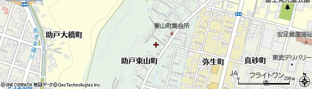 栃木県足利市助戸東山町周辺の地図