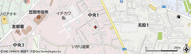 茨城県笠間市中央周辺の地図