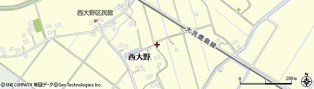 茨城県水戸市西大野周辺の地図