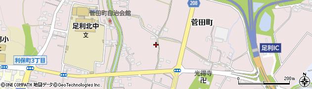 栃木県足利市菅田町周辺の地図