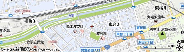 茨城県水戸市東台周辺の地図