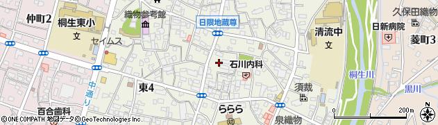 群馬県桐生市東周辺の地図