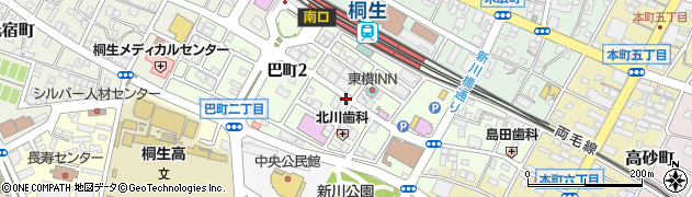 群馬県桐生市巴町周辺の地図