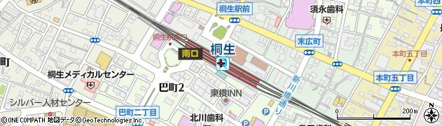 群馬県桐生市周辺の地図