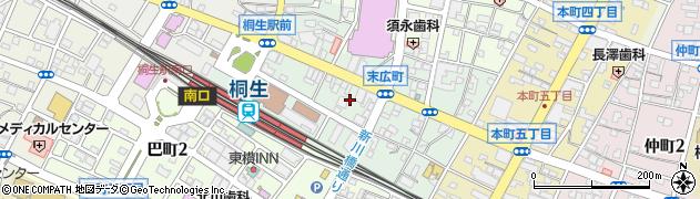 群馬県桐生市末広町周辺の地図