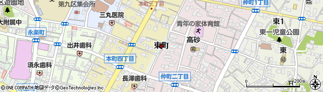 群馬県桐生市東町周辺の地図
