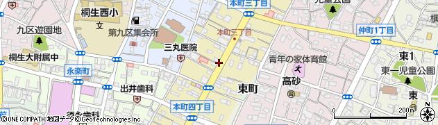 群馬県桐生市本町周辺の地図