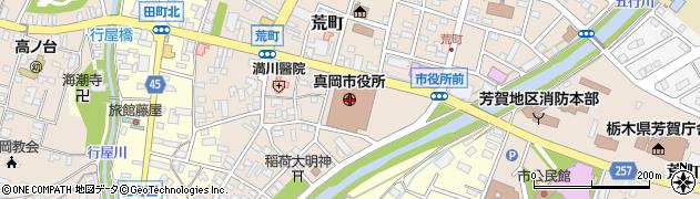 栃木県真岡市周辺の地図