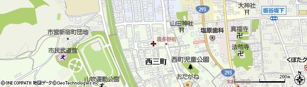 茨城県常陸太田市西三町周辺の地図