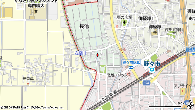 〒921-8808 石川県野々市市長池の地図