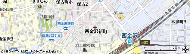 石川県金沢市西金沢新町周辺の地図