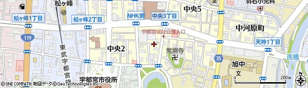 栃木県宇都宮市中央周辺の地図
