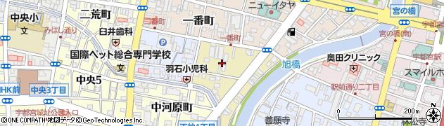 栃木県宇都宮市三番町周辺の地図