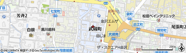 石川県金沢市武蔵町周辺の地図